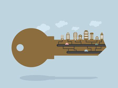 Clave Y edificios. clave para la ciudad. llave de la cerradura de la puerta con los edificios y edificios de oficinas. Citys Infraestructura. Nubes en el borde. Ilustración para el nuevo distrito en una ciudad