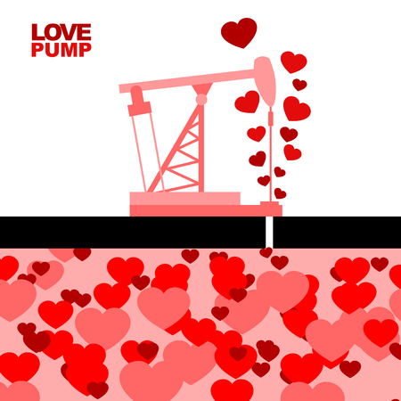under ground: Love pump. Extraction of love. Oil rig rocking love from under ground. Large stocks of deep love. Red and pink hearts. Element for Valentines day