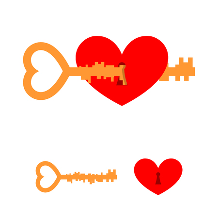 hole in one: Key and love. Key to heart. Red love with lock hole. Key lock from heart of loved one. Element for Valentines day on February 14.
