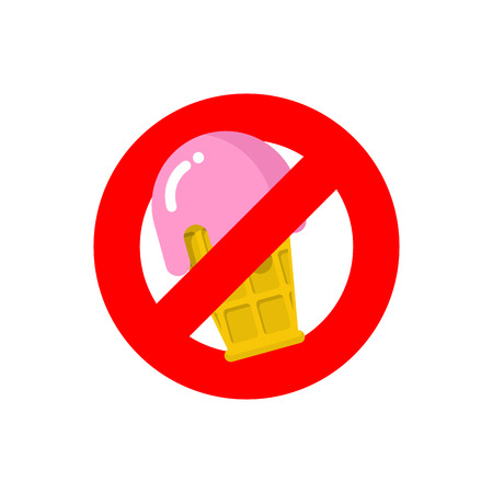allowed to enter: Stop ice cream. Red forbidding sign for sweet dessert with strawberry taste. Ban cold dairy delicacy. Forbidden to eat sweets