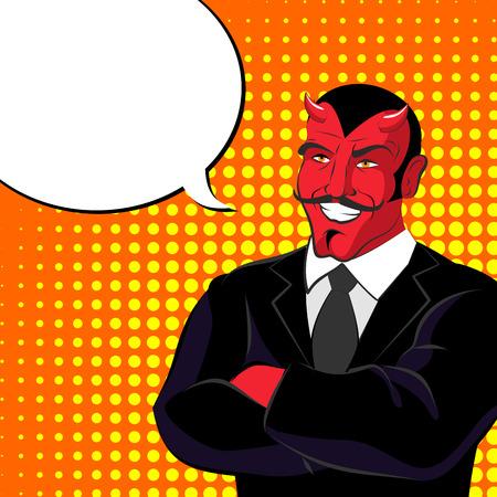 fiend: devil pop art. Red horned demonl and text bubble. Satan laughs. lucifer in  business suit. Illustration