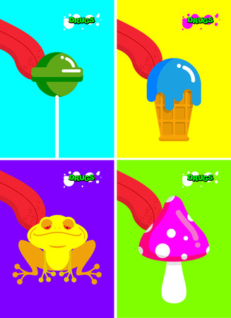 substances: Narcotic substances. Acidic lollipop and Frog. Narcotic sweetness and mushrooms. Tongue licking addict Psych stuff. Toxic hallucinogenic fly agaric and ice cream. Illustration