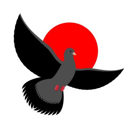Noir symbole de colombe de la tristesse et de deuil. Voler Oiseau noir sur le coucher du soleil rouge. Envergure est pigeon Vecteurs