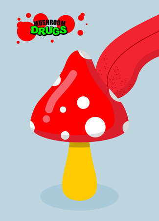 psychoactive: Drugs amanita. Acid fungus. Drug food. Tongue licking addict psychoactive mushroom. Toxic hallucinogenic fly agaric for addicts. Narcotic mushroom amanita Illustration