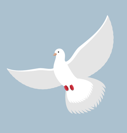 bring up: White Dove. Flying White pigeon. Bird with wings. White blue symbol of peace. Illustration