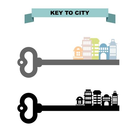 sity: Key to sity. Vintage key and city buildings. Office skyscrapers and shops.