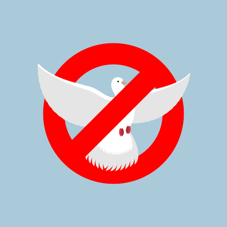 undone: Stop pigeon. It is forbidden to fly pigeon shooting. Red forbidding character. Undone by dove. Ban for poultry Illustration