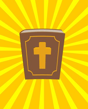 Heilige bijbel. Grote en oud boek met een kruis. Nieuwe Testament in dik leer gebonden. Vintage boek en stralen van de zon Gezegend licht. boek gaat over God. boek gaat over Jezus Christus.