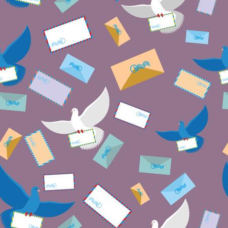 carrier pigeons: Postal pigeon Dove seamless pattern. Envelope and letter paper. Flying bird. Background of birds and envelopes Illustration