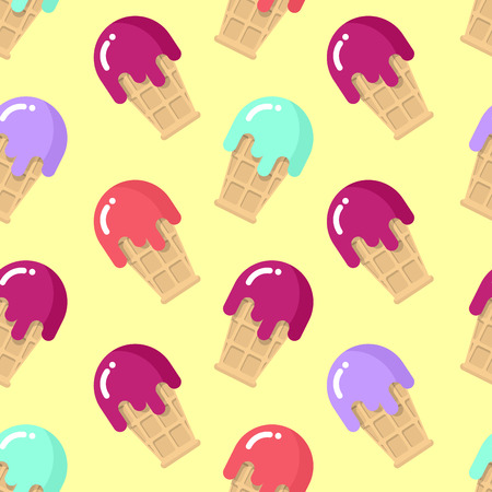flavor: Peppermint ice cream seamless pattern. Strawberry cold dessert. Cherry flavor ice-cream in waffle Cup. Ornament of sweetness with blueberries. Food Texture Illustration