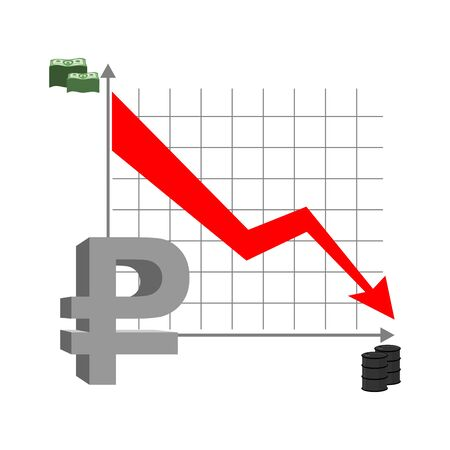 reducing: Graph fall ruble. Russian currency flies down. Quotation mark Russian money. Red arrow down. Reducing cost of  barrel of oil. Stacks of money and barrel of oil. Business infographics.