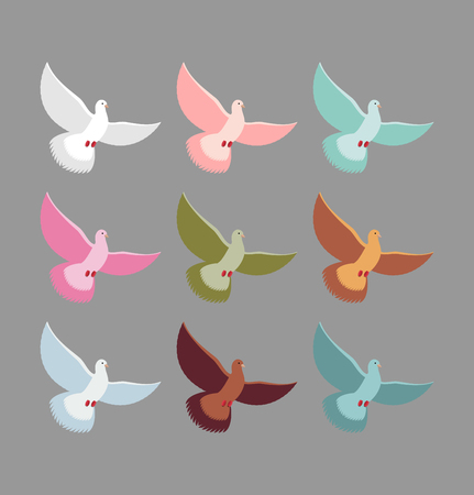 wingspan: Color pigeons. Set of colorful flying birds. Dove Soars with wingspan.