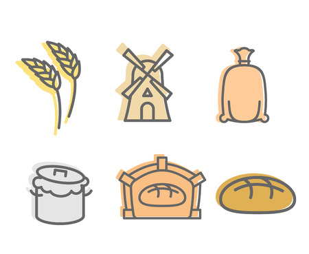baking bread: Bread baking Set of icons. Flat signs production of bread. Wheatears and a windmill.  bag with  flour and the dough. Baking bread, bread oven. Finished cake, muffin Illustration