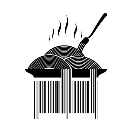 pasta fork: Barcode pasta. Dish with spaghetti and fork. Hot Italian pasta. Product marking for food. Barcode for packaging for pasta Illustration