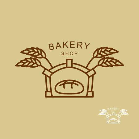 caryopsis: Emblem of  bakery shop. Fresh bread and wheat spikes. Oven for baking bread. Illustration