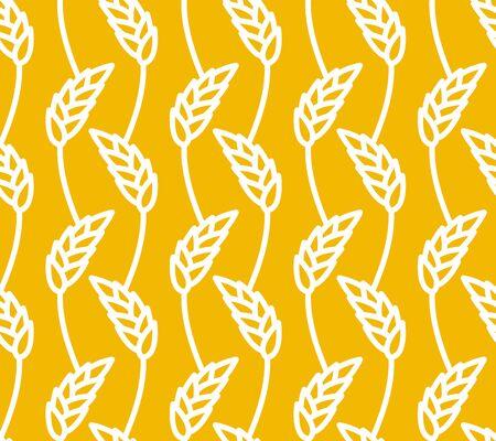 Tarwe naadloos patroon. Gele aartjes ornament. Rye textuur. Agro economische cultuur textuur