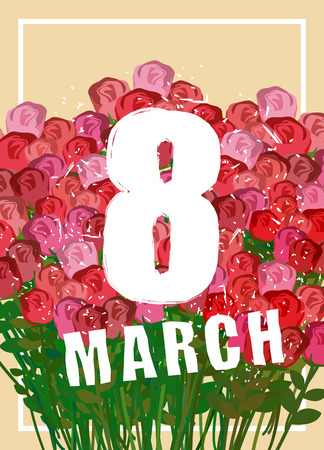 festal: 8 March. Large bouquet of red roses and white frame. Poster for international womens day. Many beautiful colors