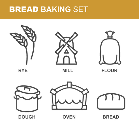 flour mill: Bread baking set of icons. Bread production line. Rye and flour mill. Textile bag with flour. Tests a saucepan. Baking oven with fire. Fresh Bread Illustration