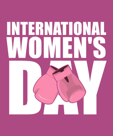 international: 8 March. Pink boxing gloves symbol of struggle and protection. international womens day