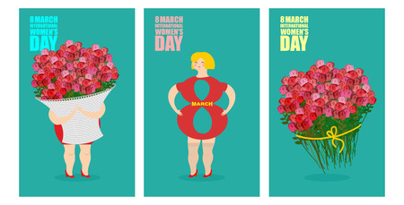 gift basket: 8 March set of postcards. International womens day. Woman and basket of flowers. Holiday gift bouquet of red roses. Silhouette girl in Figure 8. Illustration