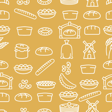 palatable: Bread and bakery products seamless pattern. Bakery items. Background from food. Baguette and pancakes. Pie and tart. Pan with batter and mill. Sack of flour and wheat ears. Bread oven and grain