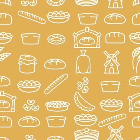 produits céréaliers: Pain et produits de boulangerie seamless pattern. articles de boulangerie. Contexte de la nourriture. Baguette et crêpes. Pie et tarte. Pan de pâte et de l'usine. Sac de farine de blé et les oreilles. Four à pain et de céréales Illustration