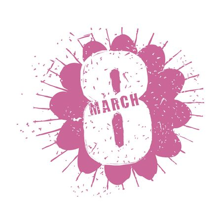 spring festival: 8 March. International womens day. Spring Festival. Burgundy flower grunge style. Emblem for fun-filled holiday. Stencil for drawing. Illustration