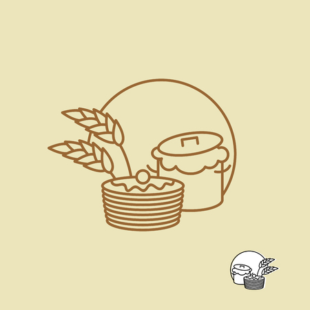 rye: Batter and pancakes linear emblem for bakeries. Ears of rye and pastries. Illustration
