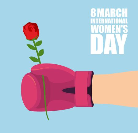 affection: 8 March. Mens hand gives rose to holidey. Strong hand of athlete and flower. Red Boxing Glove and red rose. Symbol of love and affection. International womens day.