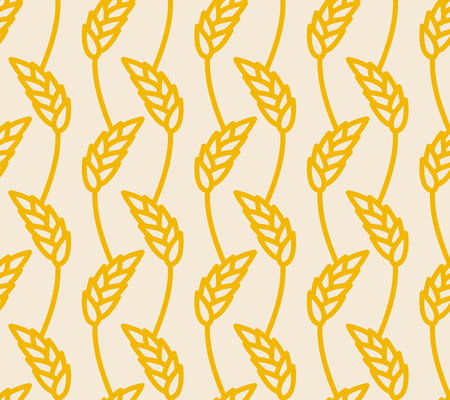 grain field: Wheat ears seamless pattern. Golden Rye background. Wheatfield infinite. Seeds yellow field of rye. Grain ornament.