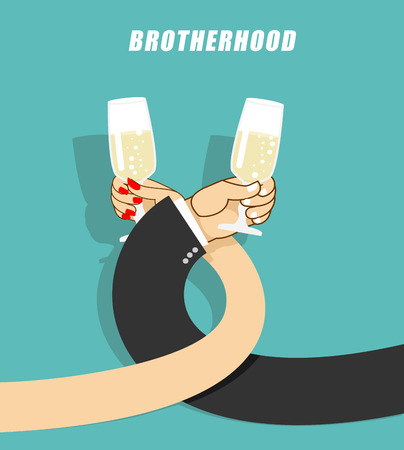 brotherhood: Brotherhood to drink alcohol. Man and woman drinking champagne. Goblets with sparkling wine. Mens hand in jacket. Female hand. Coiling hands. First date. Illustration