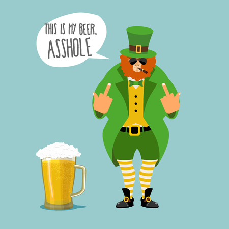 leggings: Angry leprechaun with beard. Bad leprechaun shows fuck. Its my beer, asshole. Dwarf bully with a cigar. Green cloak and old shoes. Striped leggings. Big mug of beer with foam. character for St. Patricks Day celebration in Ireland
