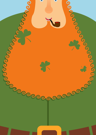 leprechaun hat: Good leprechaun.. Portrait of cheerful old man with Red Beard. Green frock coat and belt. Clover in big beard. Character for St. Patricks Day March 17