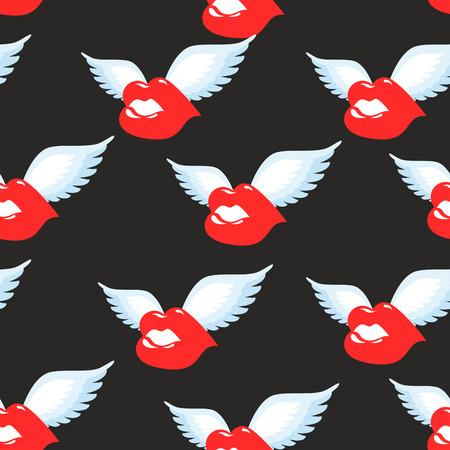femme romantique: Embrassez seamless pattern. l�vres pulpeuses rouges avec des ailes arri�re-plan. Ornement de baiser volant. baiser Air Texture. motif de l'amour romantique. Illustration