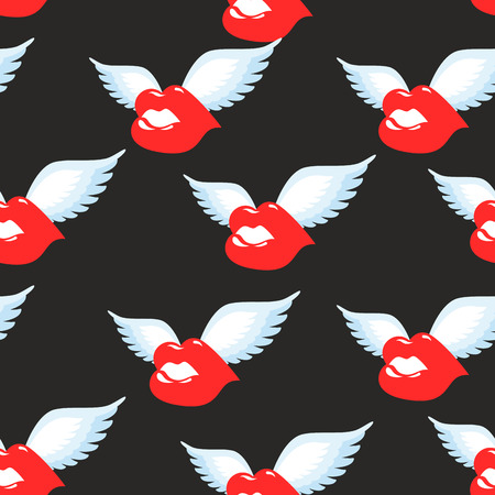 love couples: Kiss seamless pattern. Red luscious lips with wings background. Ornament of  flying kiss. Air kiss of Texture. Romantic love pattern.