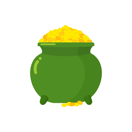 golden pot: Pot of gold. Green big mythical pot with full gold coins. Lot of money in pot. Bunch Of Cash fairy Elf. Gold St. Patricks day. Leprechaun treasure