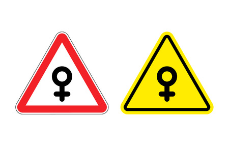 sex traffic: Warning sign of attention woman. Yellow danger girl. Female symbol on red triangle. Set of Road signs