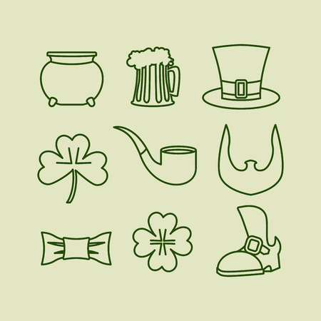 leprechaun hat: Patricks day icons set Linear symbols for Irish holiday. Leprechaun hat. Beard and clover. Four listnyj for lucky clover. Old shoe and tie butterfly Illustration