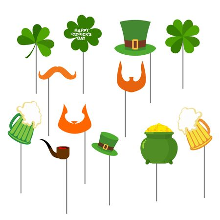 arcoiris caricatura: día de los patricks Establecer apoyos de la foto para la sesión de fotos. Elementos para fotografiar. Barba Roja Leprechaun y el cilindro sombrero verde. El trébol y la jarra de cerveza. Gran pinta de cerveza verde pálido. Vacaciones en Irlanda del 17 de marzo. Feliz dia de San Patricio