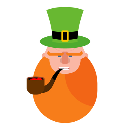 patron saint of ireland: leprechaun with Red Beard. Portrait of angry leprechaun. Pipe and Green Hat cylinder. Serious leprechaun. Illustration for St. Patricks day in Ireland Illustration
