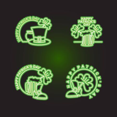 leprechaun hat: Set  Patricks day. Neon sign shines in dark green. Characters of Irish holiday beer mug and clover. pint of ALE and leprechaun Hat. Emblem for Irish holiday St. Patricks day. Illustration