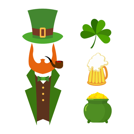 leprechaun hat: Patricks day set of elements. Green clover. Mug with beer. Big Green pot of gold. Treasures of leprechaun. Leprechaun Hat cylinder. National Irish holiday St. Patricks day