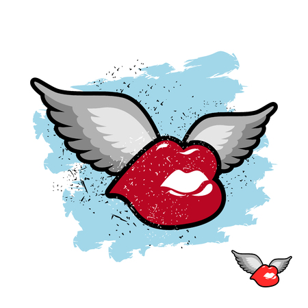 animal sex: Kiss with wings. flying lips. Emblem grunge lovers. Juicy red lips fly for kiss. Illustration