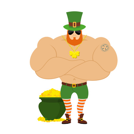 man arm: strong Leprechaun. Powerful big leprechaun in Green Hat. Bodybuilder in Red Beard. Sports man with big muscles. Powerful leprechaun and pot of gold. Tattoo four listnyj clover. Serious Leprechaun in dark glasses. Elf for St. Patricks day in Ireland 17 Ma
