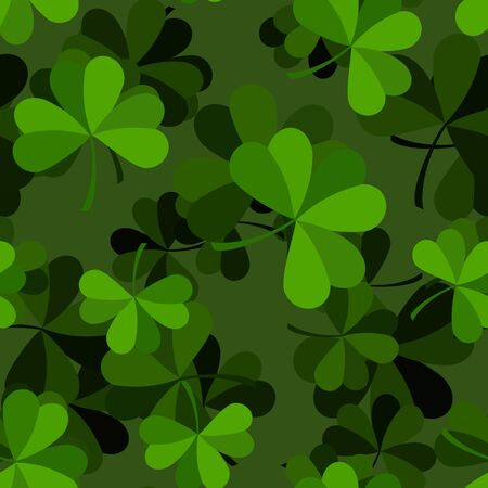 national holiday: Green clover seamless pattern. Plant ornament. Background for Patricks day. National holiday of Ireland. Leaf texture. Ornament of plants