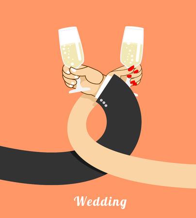 fraternidad: Boda. novia y el novio beben champán en hermandad. la mano del hombre y de la mujer con un vaso de vino. Beber alcohol hermandad Vectores