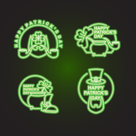 17 of march: Happy Patricks day Happy set of emblems. Neon sign for pub and bar. Leprechaun beard and mug of beer. Clover and pot with gold coins. Sign for national holiday St. Patricks day in Ireland 17 March Illustration