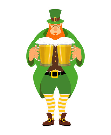 march 17: Leprechaun and beer. Good leprechaun keeps two mugs of beer. Cute old man in Green Hat cylinder. Old green jacket and striped leggings. Irish mythological hero for St. Patricks Day March 17