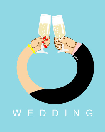 entwined: Wedding. Hands entwined, men and women in ring. Drink champagne out of glasses. Newlyweds drink wine.  Allegory of love