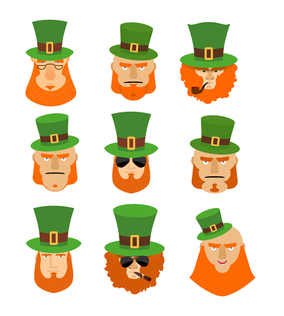 clover face: Leprechaun set head. Funny and serious facial leprechauns. Big Red Beard. Green Hat cylinder. Pipe and cigar. Sign St. Patricks Day celebration in Ireland Illustration